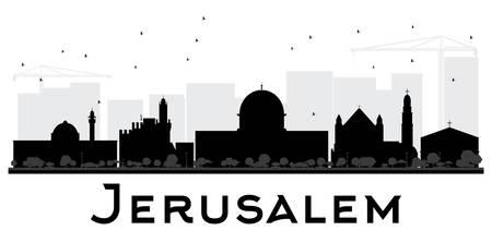 De horizon zwart-wit silhouet van de Stad van Jeruzalem. Vector illustratie. Eenvoudig plat concept voor toeristische presentatie, banner, plakkaat of website. Zakelijke reizen concept. Stadsgezicht met bezienswaardigheden