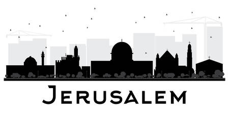 Jerusalem City skyline black and white silhouette. Vector illustration. Simple flat concept for tourism presentation, banner, placard or web site. Business travel concept. Cityscape with landmarks