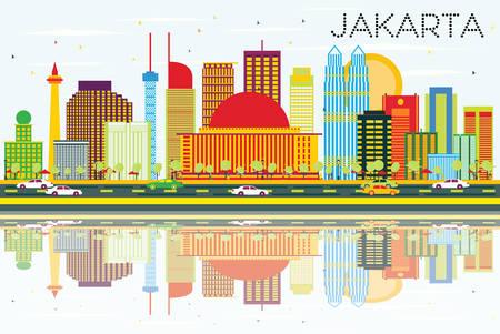 Jakarta Skyline met gekleurde gebouwen, blauwe lucht en reflecties. Vector illustratie. Bedrijfsreis en toerismeconcept met moderne gebouwen. Afbeelding voor presentatie en banner.