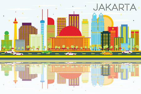 Jakarta Skyline with Color Buildings, Blue Sky and Reflections. Vector Illustration. Business Travel and Tourism Concept with Modern Buildings. Image for Presentation and Banner.