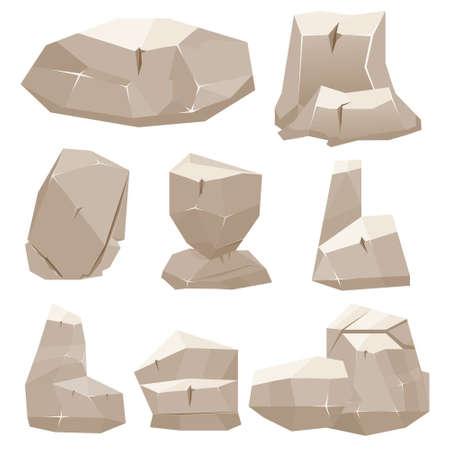 Cartoon Spiel Stones. Vektor-Illustration. Felsen auf weißem Hintergrund.