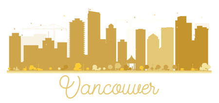 vancouver city: Vancouver City skyline golden silhouette. Vector illustration. Simple flat concept for tourism presentation, banner, placard or web. Business travel concept. Cityscape with famous landmarks