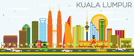 Kuala Lumpur Skyline with Color Buildings and Blue Sky. Vector Illustration. Business Travel and Tourism Concept with Modern Architecture. Image for Presentation Banner Placard and Web Site. Illustration