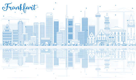 frankfurt: Outline Frankfurt Skyline with Blue Buildings and Reflections. Vector Illustration. Business Travel and Tourism Concept with Modern Architecture. Image for Presentation Banner Placard and Web Site. Illustration
