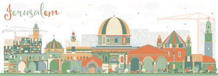 色の建物と抽象的なエルサレムのスカイライン。ベクトルの図。ビジネス旅行や歴史的建造物を観光概念です。プレゼンテーション バナー プラカー