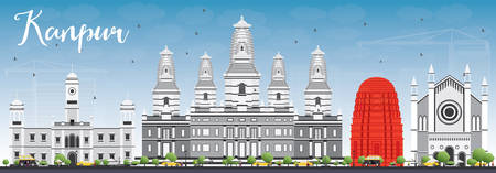 Kanpur Skyline with Gray Buildings and Blue Sky. Vector Illustration. Business Travel and Tourism Concept with Historic Architecture. Image for Presentation Banner Placard and Web Site Illustration