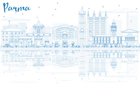 Outline Parma Skyline with Blue Buildings and Reflections. Vector Illustration. Business Travel and Tourism Concept with Historic Architecture. Image for Presentation Banner Placard and Web Site.