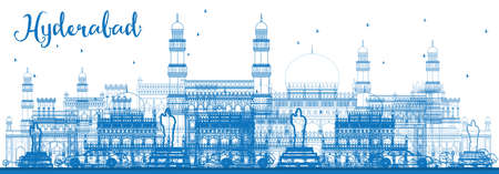 Outline Hyderabad Skyline with Blue Landmarks. Vector Illustration. Business Travel and Tourism Concept with Historic Architecture. Image for Presentation Banner Placard and Web Site. Vetores