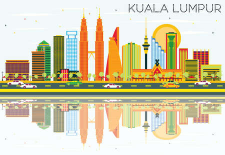 Kuala Lumpur Skyline with Color Buildings, Blue Sky and Reflections. Vector Illustration. Business Travel and Tourism Concept with Modern Architecture. Image for Presentation Banner Placard and Web Site.