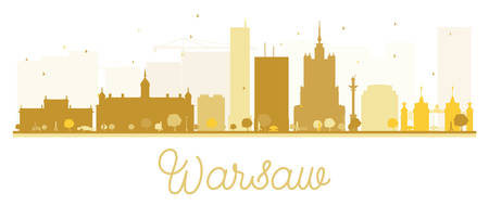 Warsaw City skyline golden silhouette. Vector illustration. Simple flat concept for tourism presentation, banner, placard or web site. Business travel concept. Cityscape with landmarks