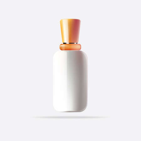 White Cosmetic Container with Orange Cap. Vector Illustration. Isolated Bottle for Mock Up. Illustration