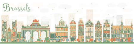 Abstracte Brussel Skyline met gekleurde gebouwen. Vector illustratie. Bedrijfsreis en toerismeconcept met historische architectuur. Afbeelding voor presentatie Banner Aanplakbiljet en website