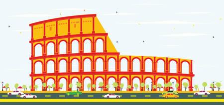 Colosseum in Rome. Vector Illustration.
