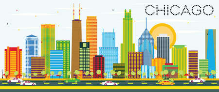Chicago Skyline with Color Buildings. Vector Illustration. Business Travel and Tourism Concept with Modern Architecture. Image for Presentation Banner Placard and Web Site.  イラスト・ベクター素材