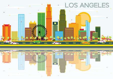 색상 건물, 푸른 하늘 및 반사와 로스 앤젤레스 스카이 라인. 벡터 일러스트 레이 션. 비즈니스 여행 및 현대 건축과 관광 개념입니다. 프레젠테이션 배너 플래 카드 및 웹 사이트 용 이미지. 스톡 콘텐츠 - 68976543