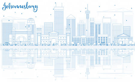 Outline Johannesburg Skyline with Blue Buildings and Reflections. Vector Illustration. Business Travel and Tourism Concept with Johannesburg Modern Architecture. Image for Presentation and Banner.