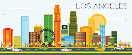 Los Angeles Skyline with Color Buildings and Blue Sky. Vector Illustration. Business Travel and Tourism Concept with Modern Architecture. Image for Presentation Banner Placard and Web Site.