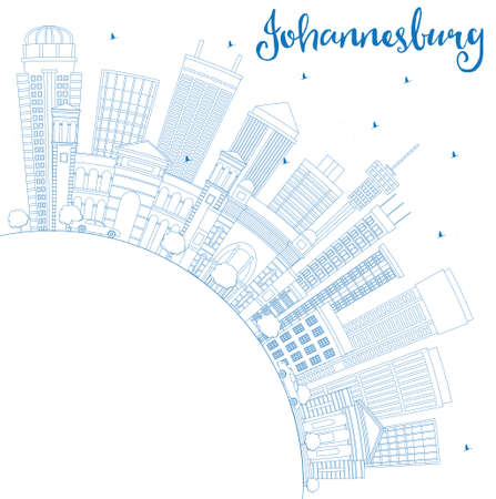 Outline Johannesburg Skyline with Blue Buildings and Copy Space. Vector Illustration. Business Travel and Tourism Concept with Johannesburg Modern Architecture. Image for Presentation and Banner.