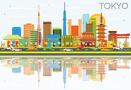De Horizon van Tokyo met Color Gebouwen, Blauwe Hemel en Reflections. Vector Illustratie. Business Travel en Toerisme Concept met Moderne Architectuur. Afbeelding voor Presentatie Banner Placard en Website.