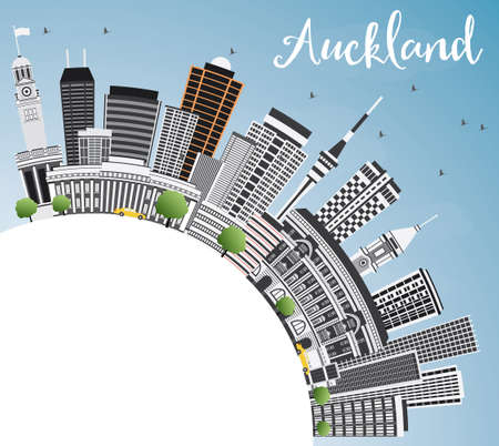 new zealand landscape: Auckland Skyline with Gray Buildings, Blue Sky and Copy Space. Vector Illustration. Business Travel and Tourism Concept with Modern Architecture. Image for Presentation Banner Placard and Web Site. Illustration