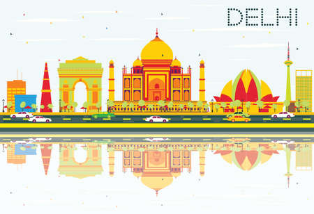 Delhi Skyline with Color Buildings, Blue Sky and Reflections. Vector Illustration. Business Travel and Tourism Concept with Historic Architecture. Image for Presentation, Banner, Placard.