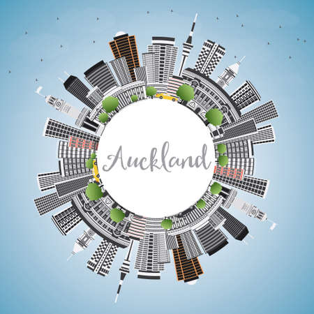 Auckland Skyline with Gray Buildings, Blue Sky and Copy Space. Vector Illustration. Business Travel and Tourism Concept with Modern Architecture. Image for Presentation Banner Placard and Web Site. Illustration