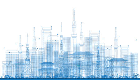 Outline City Skyscrapers and Tv Towers in Blue Color. Vector Illustration. Business Travel and Tourism Concept. Image for Presentation, Banner, Placard and Web Site