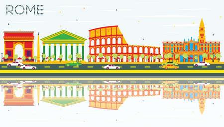 Roma Skyline con costruzioni di colore, cielo blu e riflessioni. Illustrazione vettoriale. Viaggi d'affari e turismo concetto di Architettura storica. Immagine per la presentazione Banner Placard
