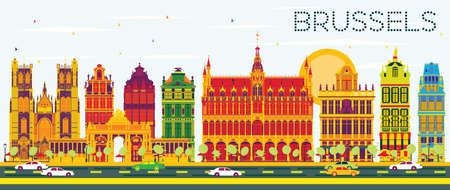 Brussels Skyline with Color Buildings and Blue Sky. Vector Illustration. Business Travel and Tourism Concept with Historic Architecture. Image for Presentation Banner Placard and Web Site. Иллюстрация