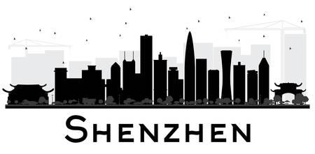 深圳市の黒と白のスカイラインのシルエット。ベクトルの図。観光プレゼンテーション、バナー、プラカードまたは web サイトのためのシンプルなフ