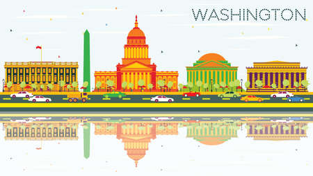 Washington DC Skyline with Color Buildings, Blue Sky and Reflections. Vector Illustration. Business Travel and Tourism Concept with Historic Architecture. Image for Presentation Banner Placard and Web Site.