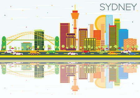 sydney skyline: Sydney Skyline with Color Buildings, Blue Sky and Reflections. Vector Illustration. Business Travel and Tourism Concept with Modern Architecture. Image for Presentation Banner Placard and Web Site.