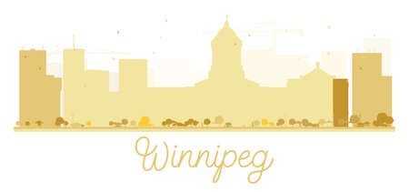 Winnipeg City skyline golden silhouette. Vector illustration. Simple flat concept for tourism presentation, banner, placard or web site. Business travel concept. Cityscape with landmarks