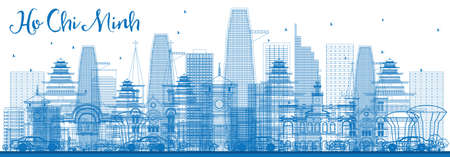 chi: Outline Ho Chi Minh Skyline with Blue Buildings. Vector Illustration. Business Travel and Tourism Concept with Modern Architecture. Image for Presentation Banner Placard and Web Site.