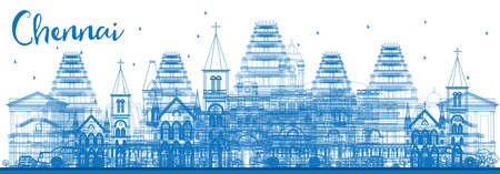 Outline Chennai Skyline with Blue Landmarks. Vector Illustration. Business Travel and Tourism Concept with Historic Architecture. Image for Presentation Banner Placard and Web Site.