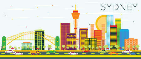sydney skyline: Sydney Skyline with Color Buildings and Blue Sky. Vector Illustration. Business Travel and Tourism Concept with Modern Architecture. Image for Presentation Banner Placard and Web Site. Illustration