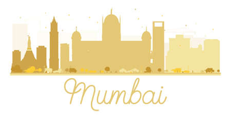 Mumbai City skyline golden silhouette. Vector illustration. Simple flat concept for tourism presentation, banner, placard or web site. Business travel concept. Cityscape with landmarks. Illustration