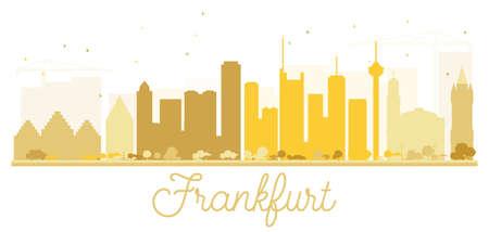 Frankfurt City skyline golden silhouette. Vector illustration. Simple flat concept for tourism presentation, banner, placard or web site. Business travel concept. Cityscape with landmarks.
