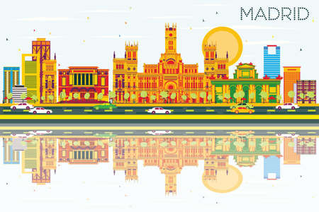 madrid: Madrid Skyline with Color Buildings, Blue Sky and Reflections. Vector Illustration. Business Travel and Tourism Concept with Historic Architecture. Image for Presentation Banner Placard and Web Site.