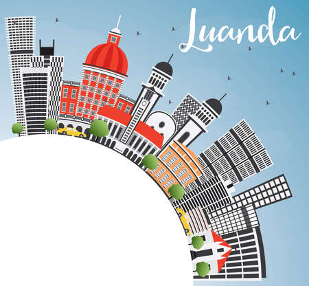 Luanda Skyline with Gray Buildings, Blue Sky and Copy Space. Vector Illustration. Business Travel and Tourism Concept with Modern Architecture. Image for Presentation Banner Placard and Web Site.