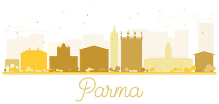 Parma City skyline golden silhouette. Vector illustration. Simple flat concept for tourism presentation, banner, placard or web site. Cityscape with landmarks