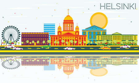 Helsinki Skyline with Color Buildings, Blue Sky and Reflections. Vector Illustration. Business Travel and Tourism Concept with Historic Architecture. Image for Presentation Banner Placard and Web Site. Illustration