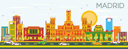 Madrid Skyline with Color Buildings and Blue Sky. Vector Illustration. Business Travel and Tourism Concept with Historic Architecture. Image for Presentation Banner Placard and Web Site.
