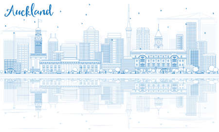 new zealand landscape: Outline Auckland Skyline with Blue Buildings and Reflections. Vector Illustration. Business Travel and Tourism Concept with Modern Buildings. Image for Presentation Banner Placard and Web Site.