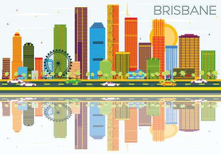 色の建物、青空の反射とブリスベンのスカイライン。ベクトルの図。ビジネス旅行と観光コンセプト モダンな建築。プレゼンテーション バナー プ