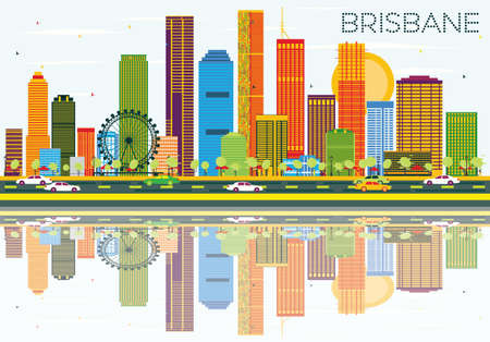 Brisbane Skyline with Color Buildings, Blue Sky and Reflections. Vector Illustration. Business Travel and Tourism Concept with Modern Architecture. Image for Presentation Banner Placard and Web Site.