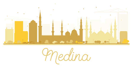 Medina City skyline golden silhouette. Vector illustration. Simple flat concept for tourism presentation, banner, placard or web site. Cityscape with landmarks