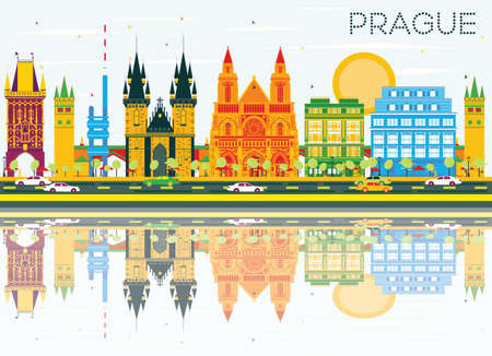 Prague Skyline with Color Buildings, Blue Sky and Reflections. Vector Illustration. Business Travel and Tourism Concept with Historic Architecture. Image for Presentation Banner Placard and Web.