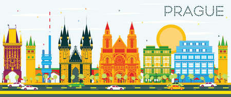 Prague Skyline with Color Buildings and Blue Sky. Vector Illustration. Business Travel and Tourism Concept with Historic Architecture. Image for Presentation Banner Placard and Web.