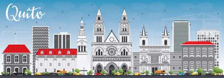Skyline de Quito avec bâtiments gris et ciel bleu. Illustration vectorielle Concept de voyage et de tourisme d'affaires avec architecture historique. Image pour la bannière de présentation et le site Web. Vecteurs